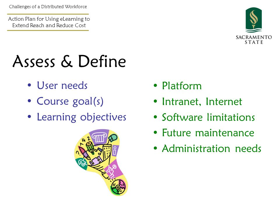 Assess & Define User needs Course goal(s) Learning objectives Challenges of a Distributed Workforce Action Plan for Using eLearning to Extend Reach and Reduce Cost Platform Intranet, Internet Software limitations Future maintenance Administration needs
