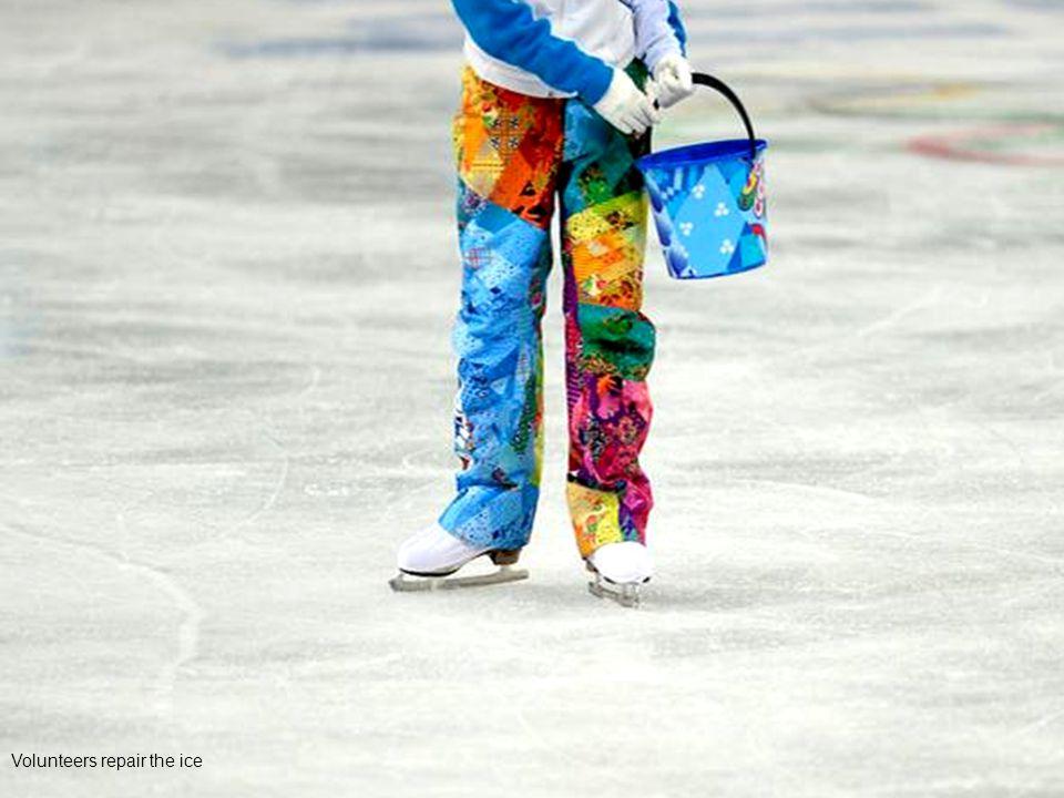 Volunteers repair the ice