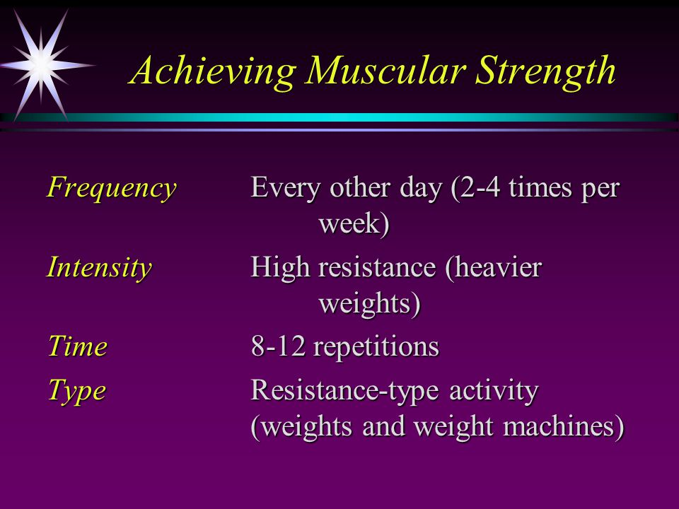 Achieving Muscular Strength FrequencyEvery other day (2-4 times per week) IntensityHigh resistance (heavier weights) Time8-12 repetitions TypeResistance-type activity (weights and weight machines)