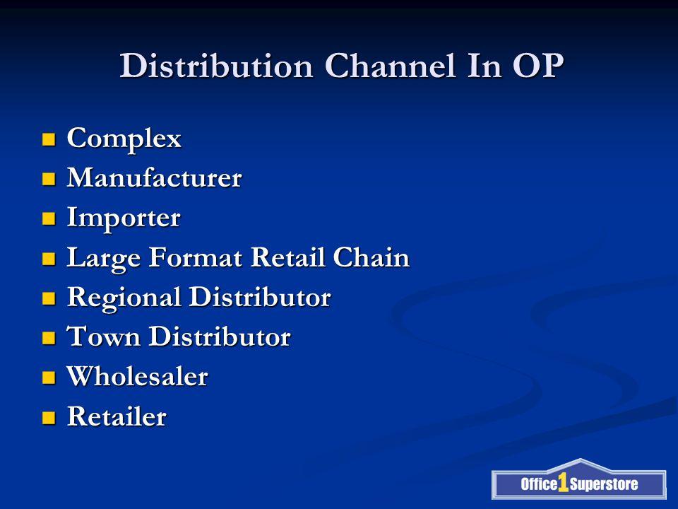 Distribution Channel In OP Complex Complex Manufacturer Manufacturer Importer Importer Large Format Retail Chain Large Format Retail Chain Regional Distributor Regional Distributor Town Distributor Town Distributor Wholesaler Wholesaler Retailer Retailer