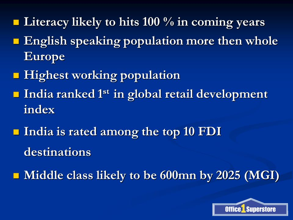 Literacy likely to hits 100 % in coming years Literacy likely to hits 100 % in coming years English speaking population more then whole Europe English