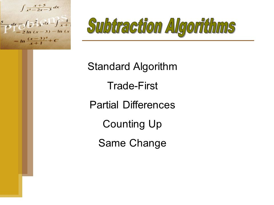 Standard Algorithm Trade-First Partial Differences Counting Up Same Change