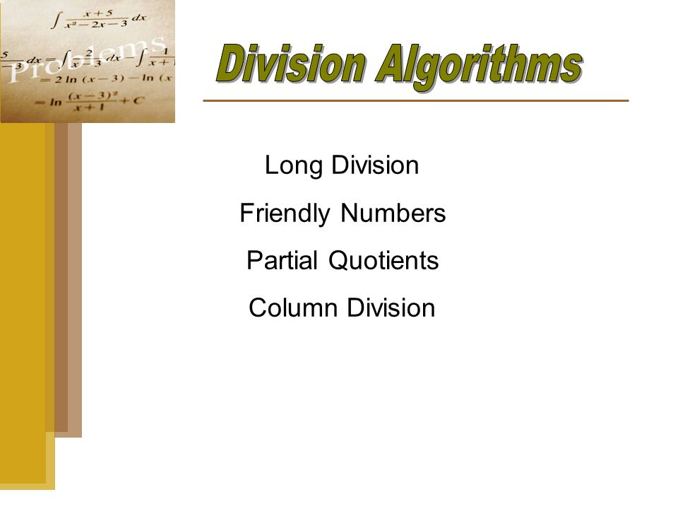 Long Division Friendly Numbers Partial Quotients Column Division