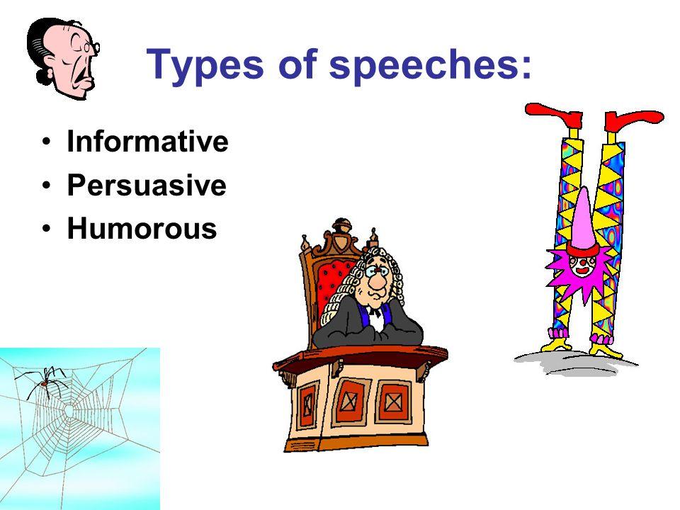 Types of speeches: Informative Persuasive Humorous