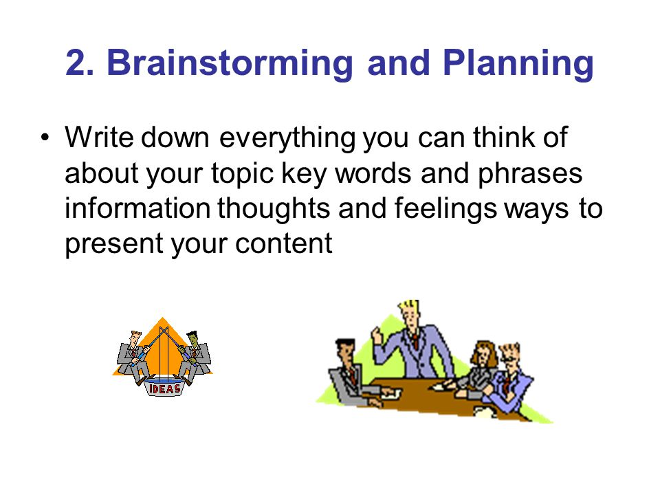 2. Brainstorming and Planning Write down everything you can think of about your topic key words and phrases information thoughts and feelings ways to