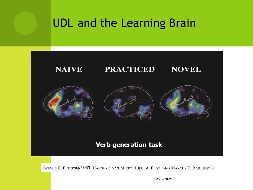 UDL and the Learning Brain IMAGE Verb generation task CAST©2008