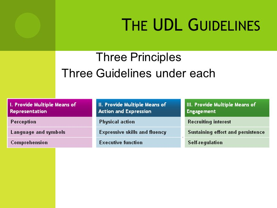 Three Principles Three Guidelines under each T HE UDL G UIDELINES