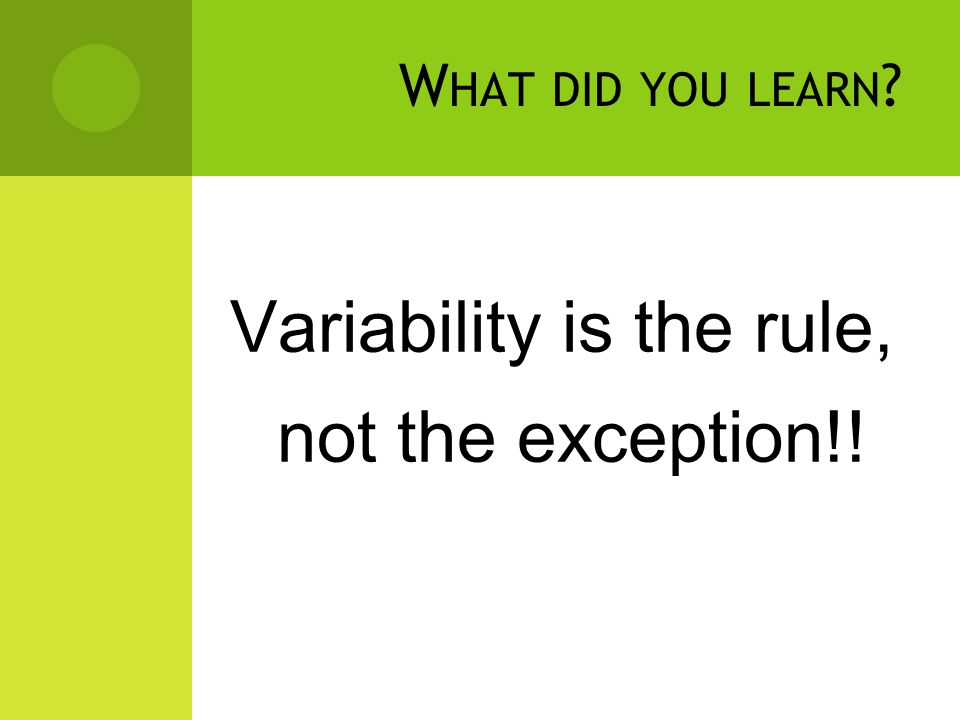 D O YOU B ELIEVE … Learners in any classroom represent a range of variability.