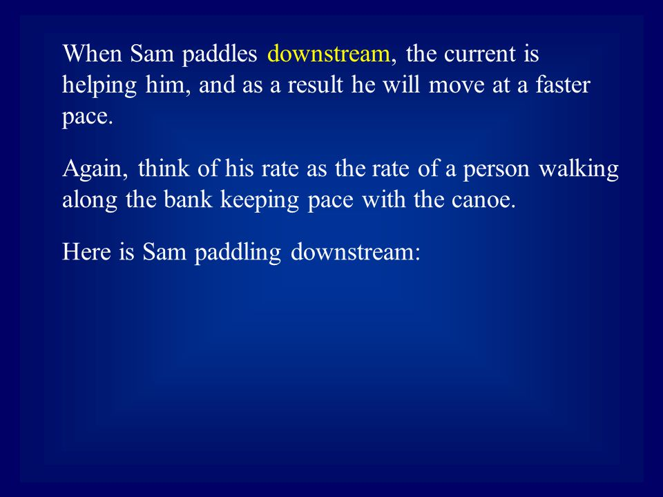 Again, think of his rate as the rate of a person walking along the bank keeping pace with the canoe. Here is Sam paddling downstream: When Sam paddles