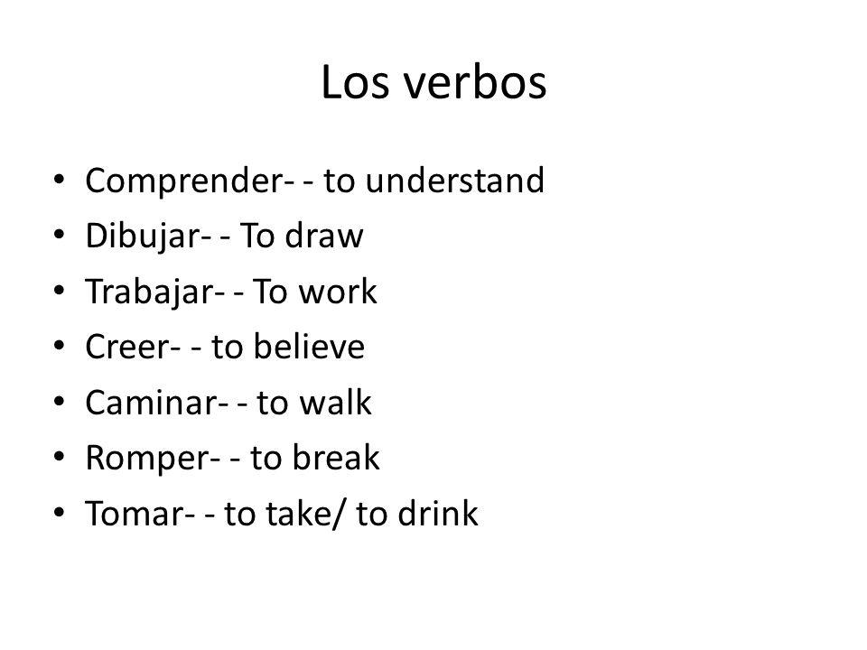 Verb conjugation Yo dibujo- - I draw.Ella camina.- - She walks.