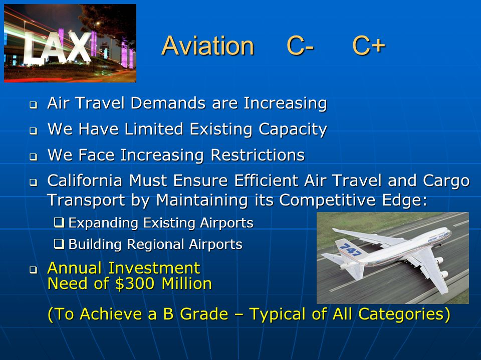 Aviation C- C+ Aviation C- C+  Air Travel Demands are Increasing  We Have Limited Existing Capacity  We Face Increasing Restrictions  California M