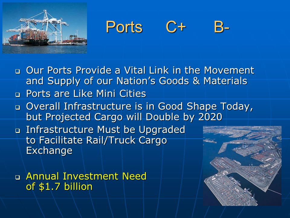 Ports C+ B- Ports C+ B-  Our Ports Provide a Vital Link in the Movement and Supply of our Nation's Goods & Materials  Ports are Like Mini Cities  O
