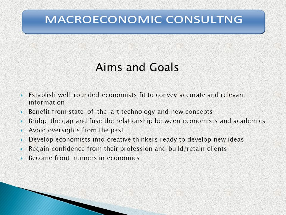 Aims and Goals  Establish well-rounded economists fit to convey accurate and relevant information  Benefit from state-of-the-art technology and new concepts  Bridge the gap and fuse the relationship between economists and academics  Avoid oversights from the past  Develop economists into creative thinkers ready to develop new ideas  Regain confidence from their profession and build/retain clients  Become front-runners in economics