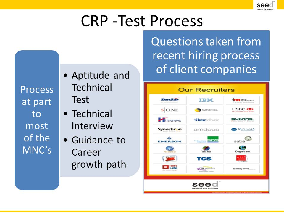 CRP -Test Process Aptitude and Technical Test Technical Interview Guidance to Career growth path Process at part to most of the MNC's Questions taken from recent hiring process of client companies