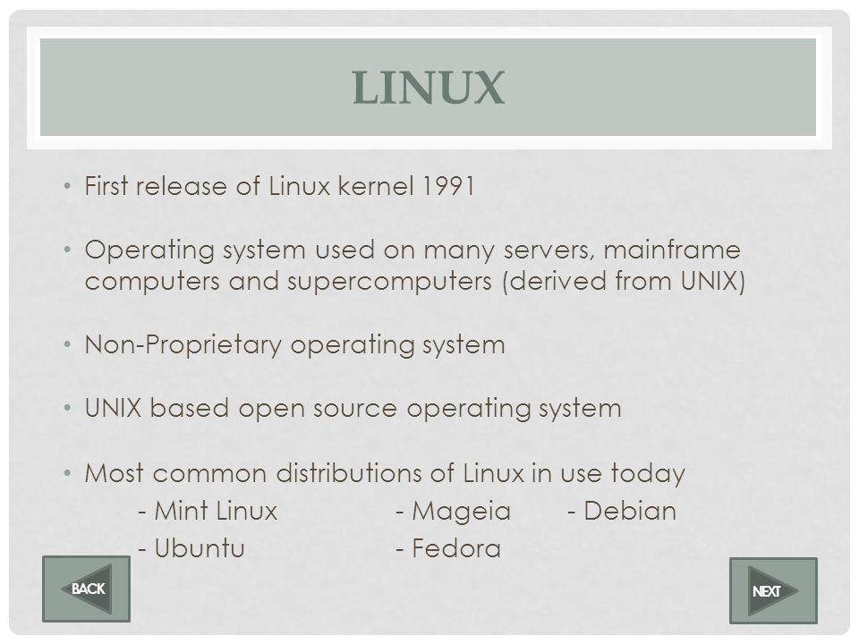 LINUS TORVALDS LINUX Linux Creator NEXT BACK