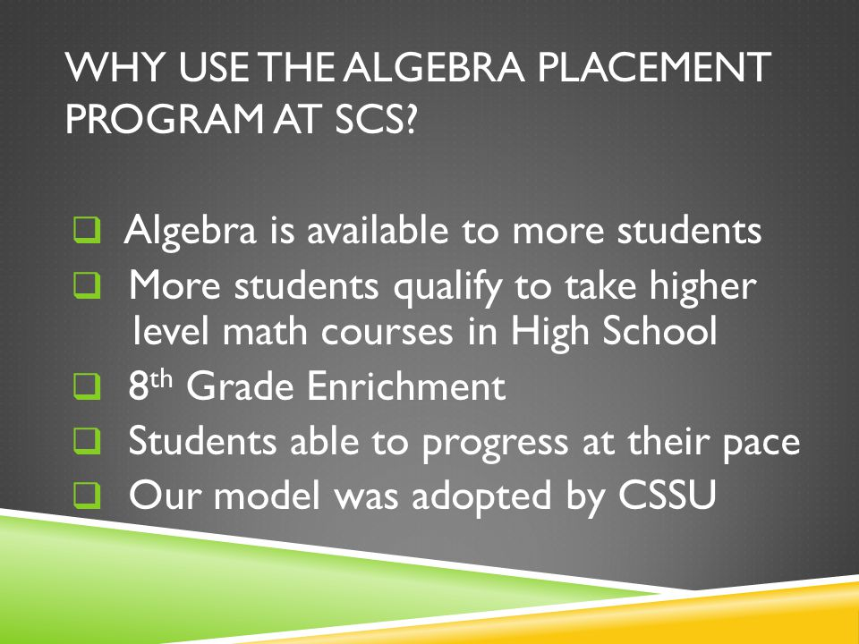WHAT DOES ALGEBRA LOOK LIKE AT SCS.