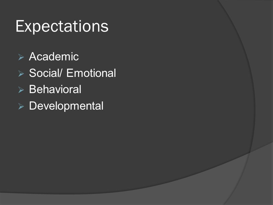 Expectations  Academic  Social/ Emotional  Behavioral  Developmental