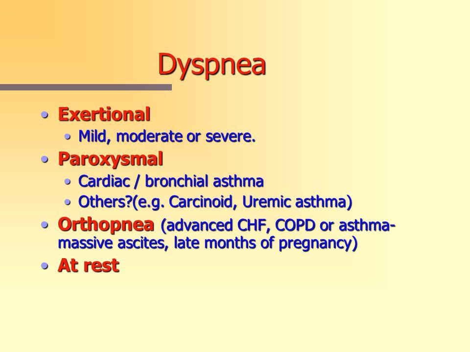 Dyspnea ExertionalExertional Mild, moderate or severe.Mild, moderate or severe.