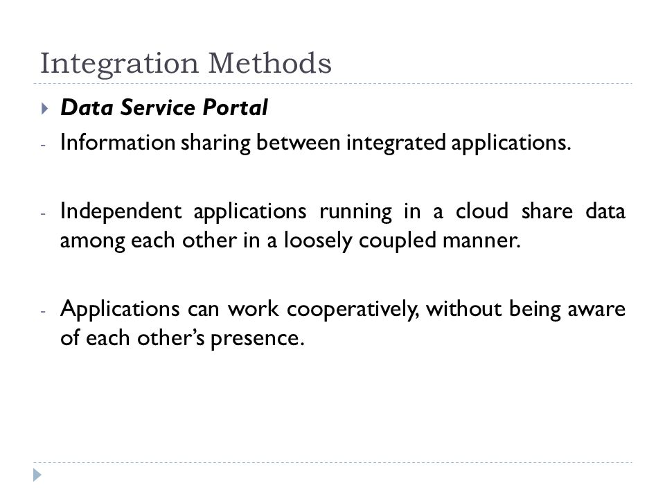 Integration Methods  Data Service Portal - Information sharing between integrated applications. - Independent applications running in a cloud share d