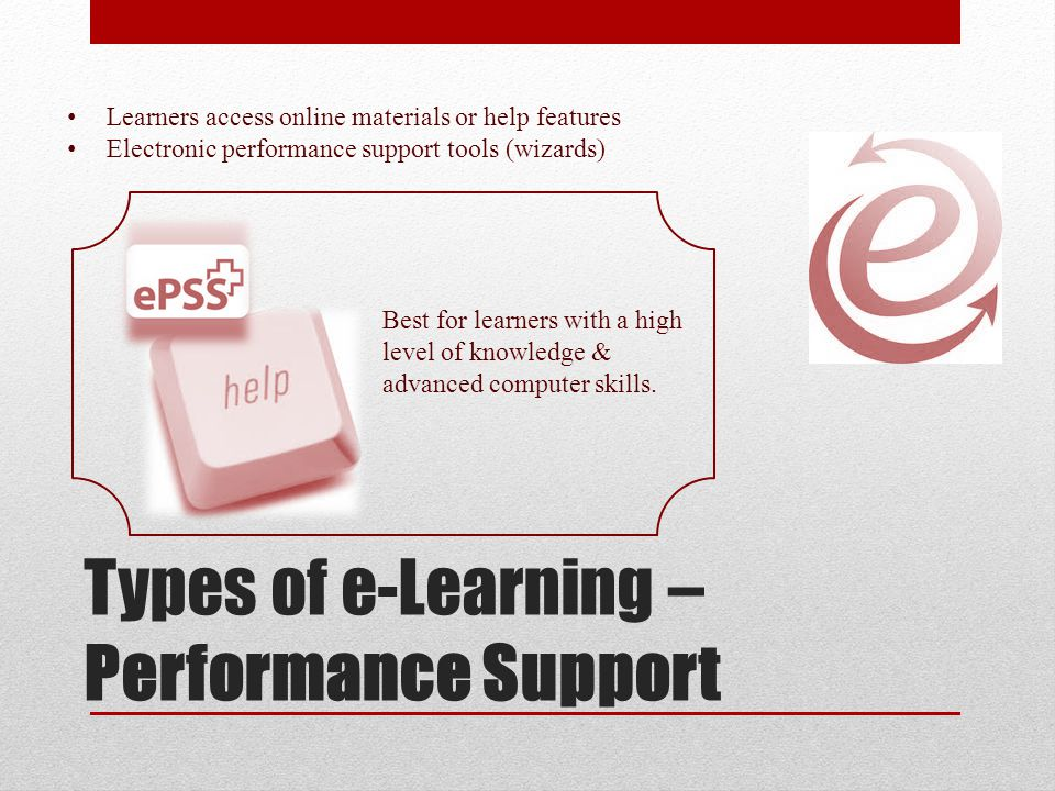 Types of e-Learning – Performance Support Learners access online materials or help features Electronic performance support tools (wizards) Best for learners with a high level of knowledge & advanced computer skills.