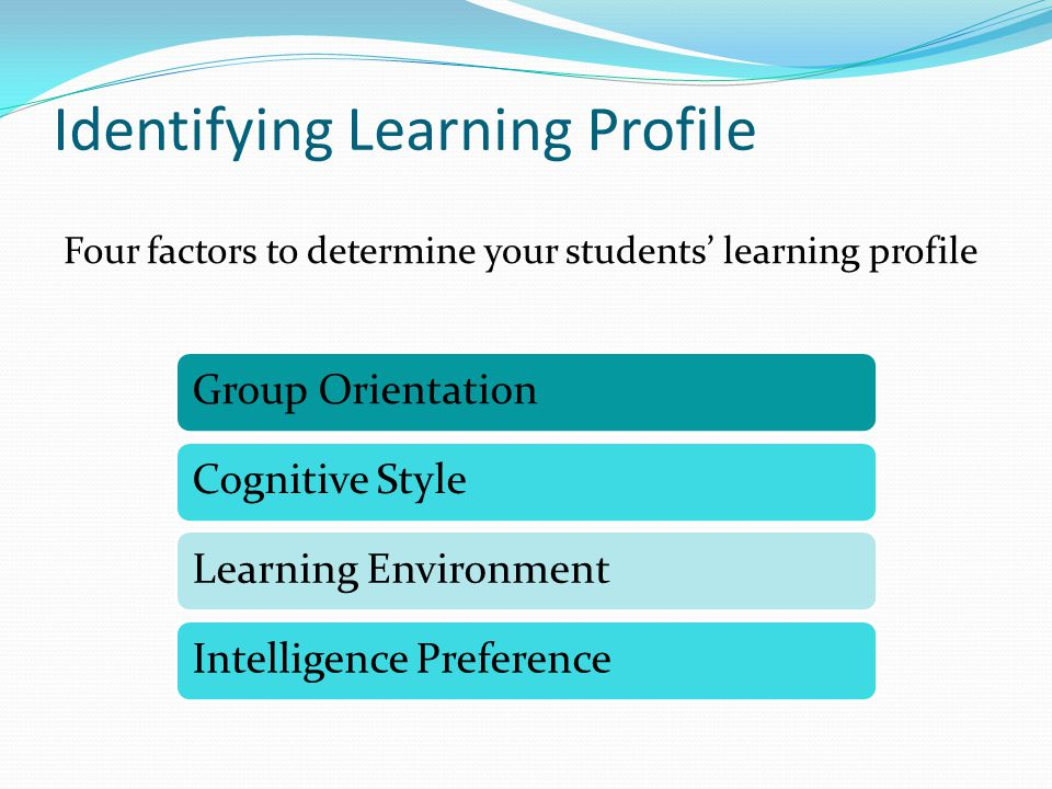 Identifying Learning Profile Four factors to determine your students' learning profile Group OrientationCognitive StyleLearning EnvironmentIntelligence Preference