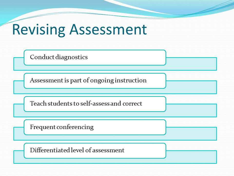 Revising Assessment Conduct diagnosticsAssessment is part of ongoing instructionTeach students to self-assess and correctFrequent conferencingDifferentiated level of assessment