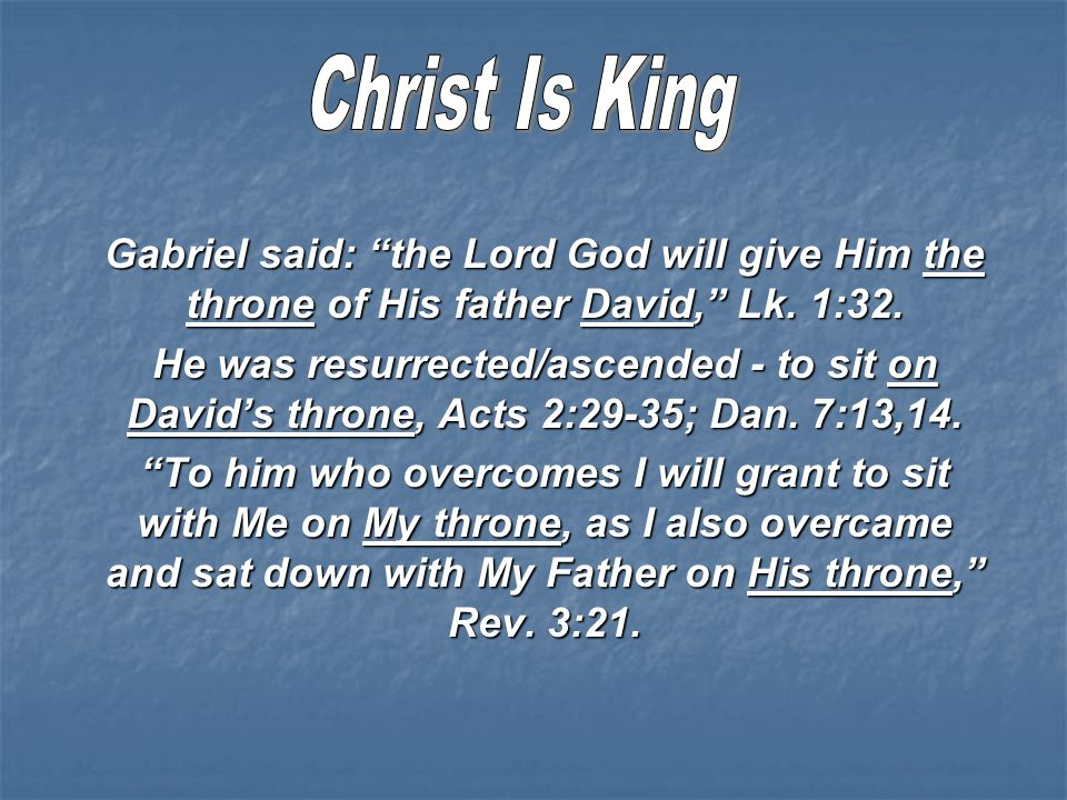 Gabriel said: the Lord God will give Him the throne of His father David, Lk.