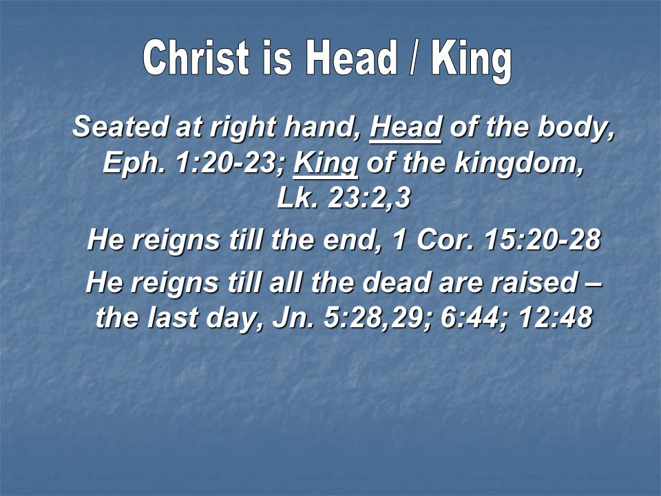 Seated at right hand, Head of the body, Eph. 1:20-23; King of the kingdom, Lk.