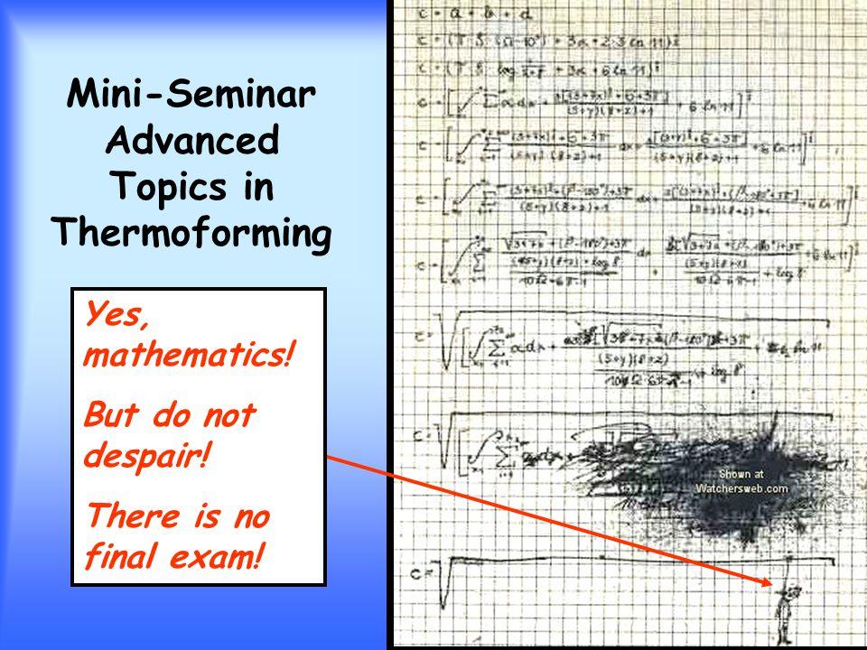 Mini-Seminar Advanced Topics in Thermoforming Yes, mathematics.