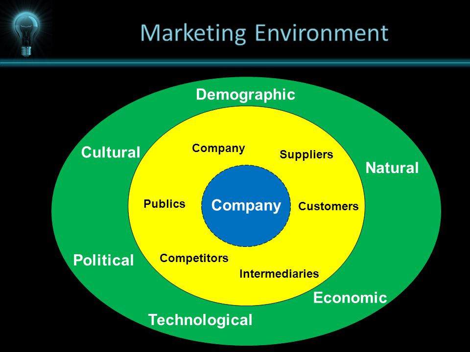 Company Demographic Economic Natural Technological Political Cultural Company Customers Intermediaries Suppliers Competitors Publics