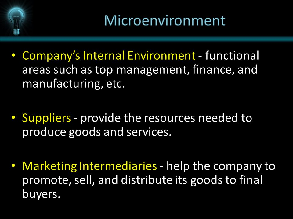 Company's Internal Environment Company's Internal Environment - functional areas such as top management, finance, and manufacturing, etc.
