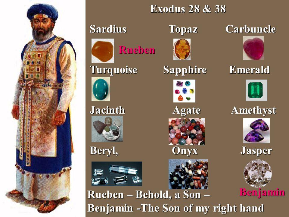 Exodus 28 & 38 Sardius Topaz Carbuncle Turquoise Sapphire Emerald Jacinth Agate Amethyst Beryl, Onyx Jasper Benjamin Benjamin Rueben – Behold, a Son –