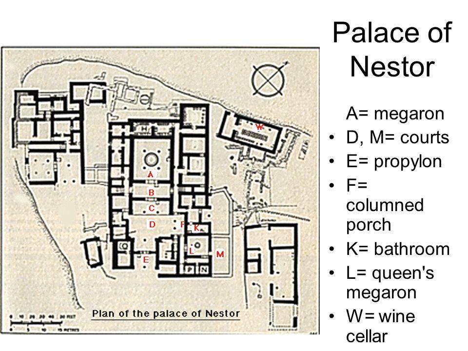 Palace of Nestor A= megaron D, M= courts E= propylon F= columned porch K= bathroom L= queen's megaron W= wine cellar