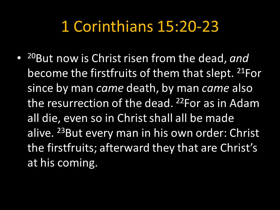 1 Corinthians 15:20-23 20 But now is Christ risen from the dead, and become the firstfruits of them that slept.