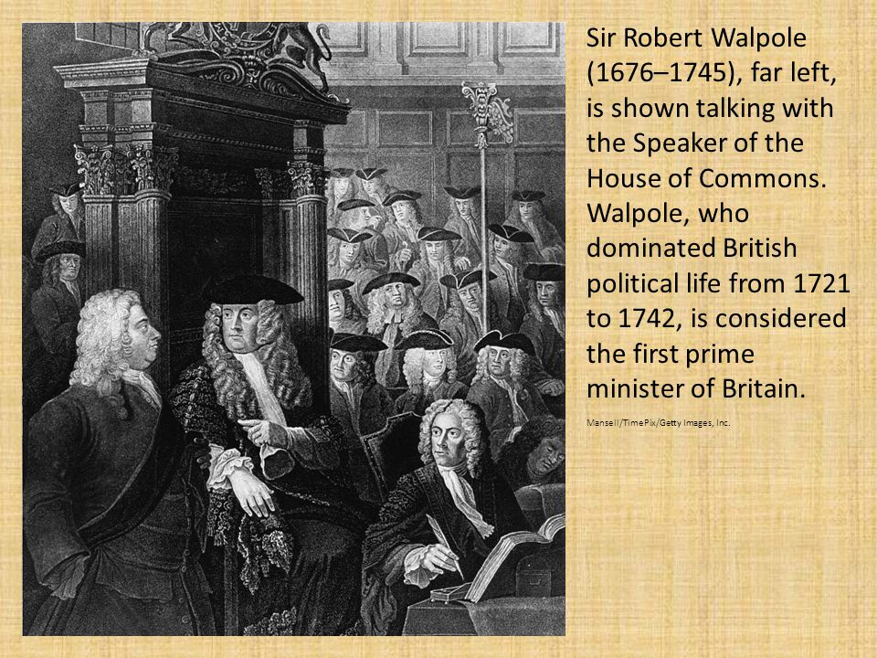 Sir Robert Walpole (1676–1745), far left, is shown talking with the Speaker of the House of Commons.
