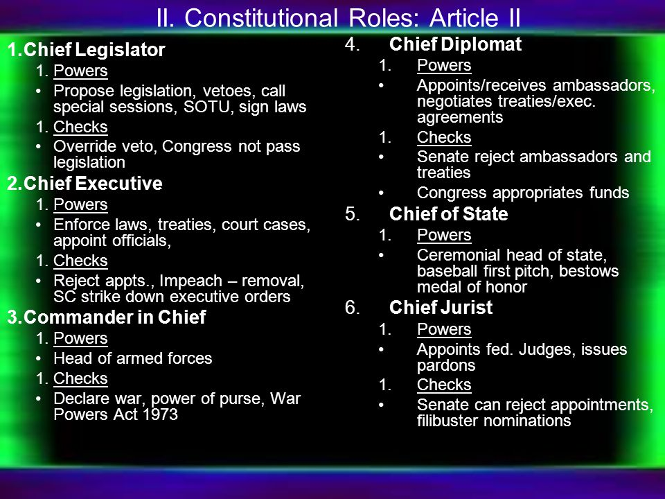 II. Constitutional Roles: Article II 1.Chief Legislator 1.Powers Propose legislation, vetoes, call special sessions, SOTU, sign laws 1.Checks Override