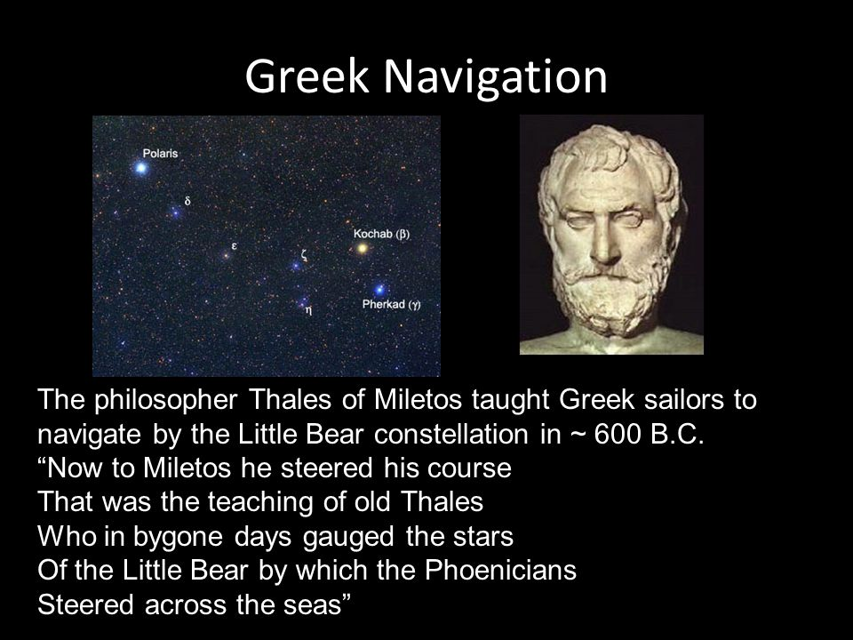 Greek Navigation The philosopher Thales of Miletos taught Greek sailors to navigate by the Little Bear constellation in ~ 600 B.C.