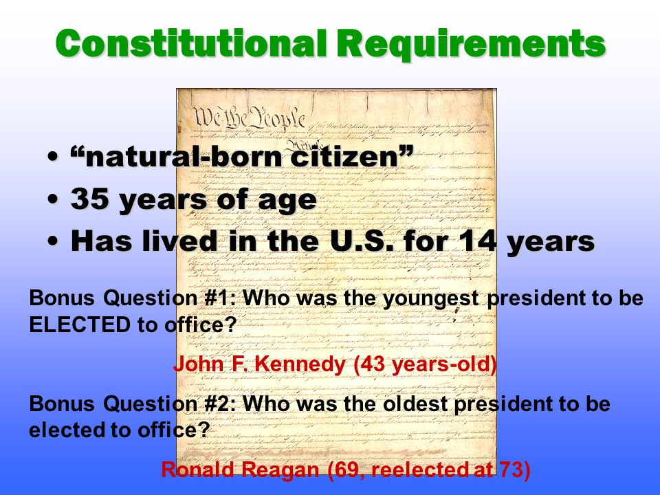 Constitutional Requirements natural-born citizen natural-born citizen 35 years of age35 years of age Has lived in the U.S.