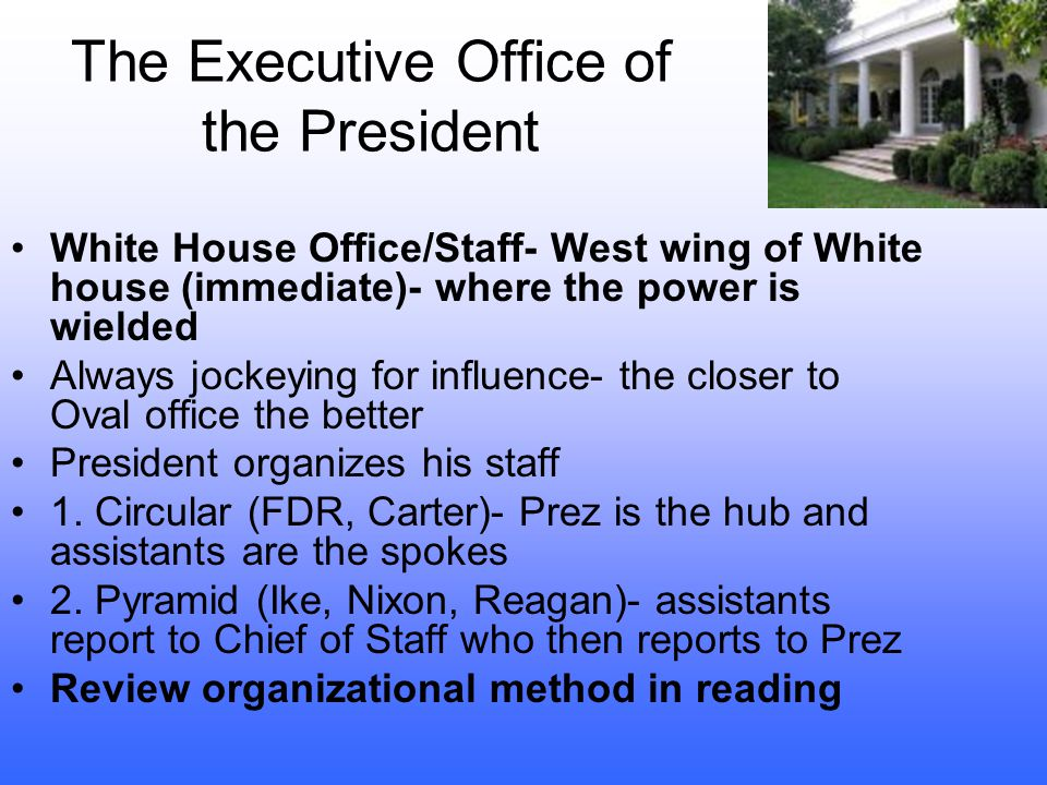 The White House Office Staff In the past Up until 1857- no personal secretary Lincoln often answered his own mail Cleveland answered the White House p