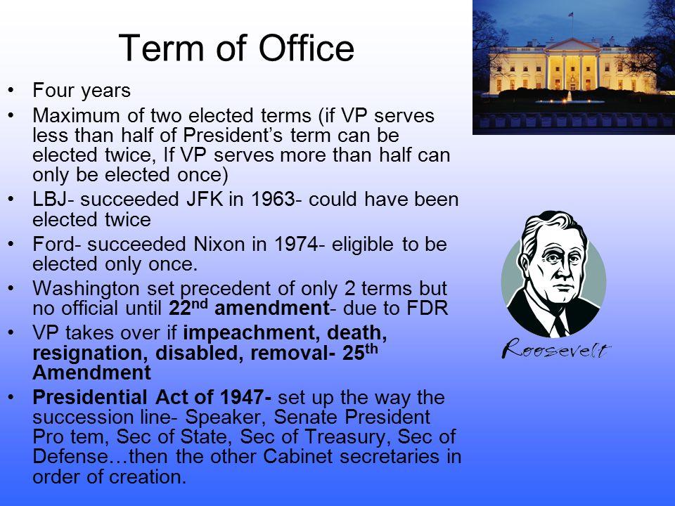 25 th Amendment (1967) Established procedures for dealing w/ pres. disability and filling V.P.