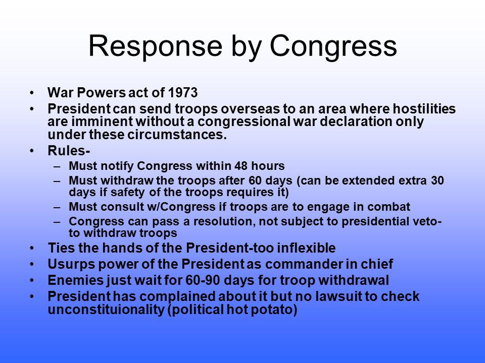 Areas of Abuse War Powers Only Congress can declare war vs. President's power as Commander in Chief President has sent in troops without declaration o