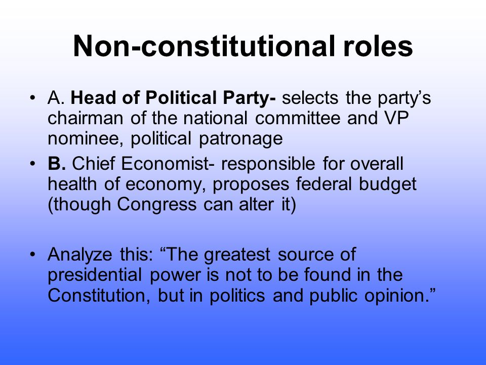 6. Chief Jurist- powers- appoints federal judges, issues pardons and amnesty. Checks= senate can reject judicial appointments, senators can place hold