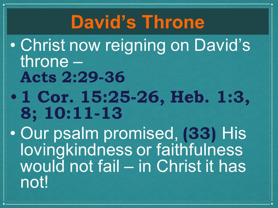 David's Throne Christ now reigning on David's throne – Acts 2:29-36 1 Cor.