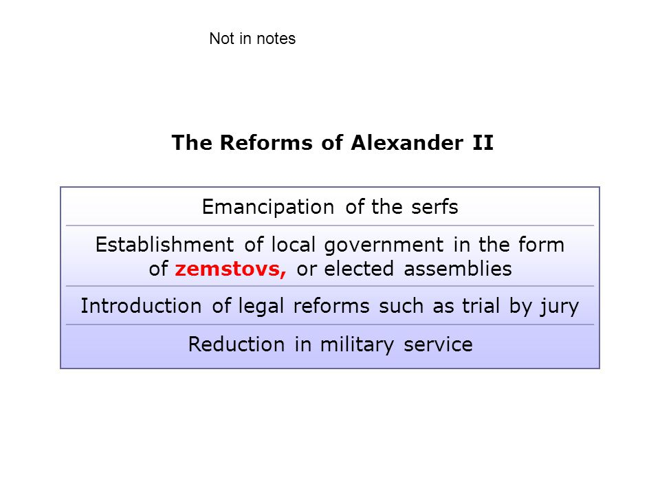 The Reforms of Alexander II Emancipation of the serfs Establishment of local government in the form of zemstovs, or elected assemblies Introduction of