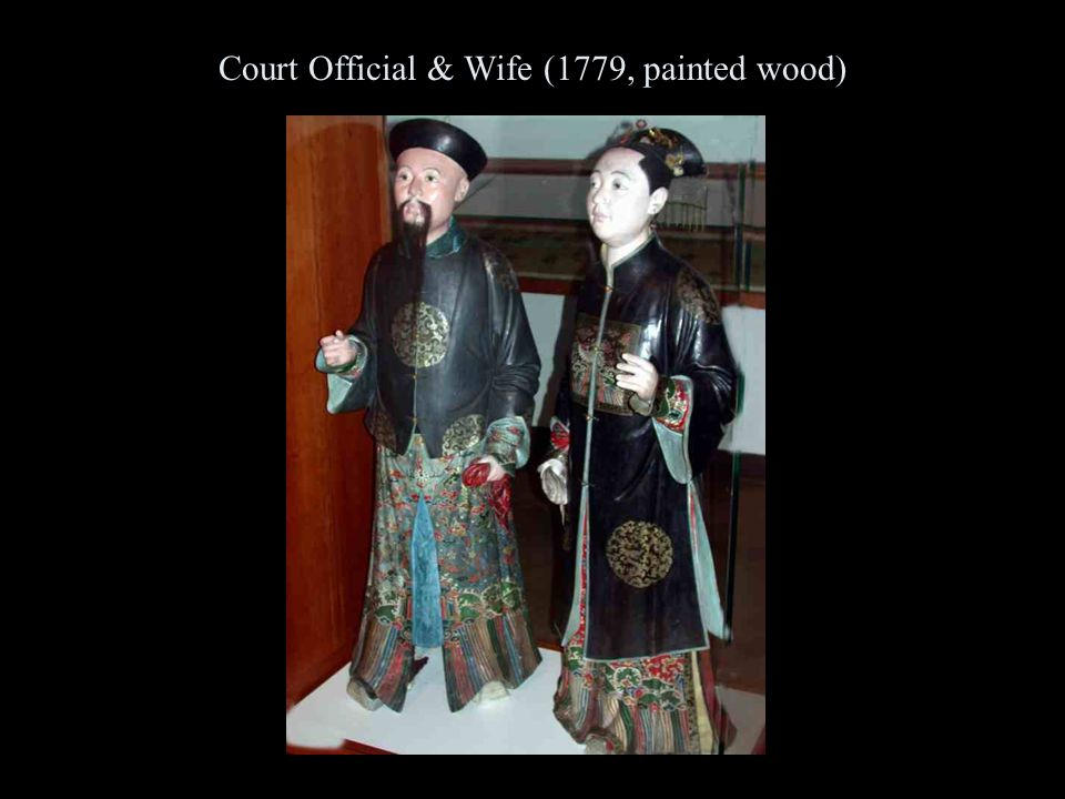 Court Official & Wife (1779, painted wood)