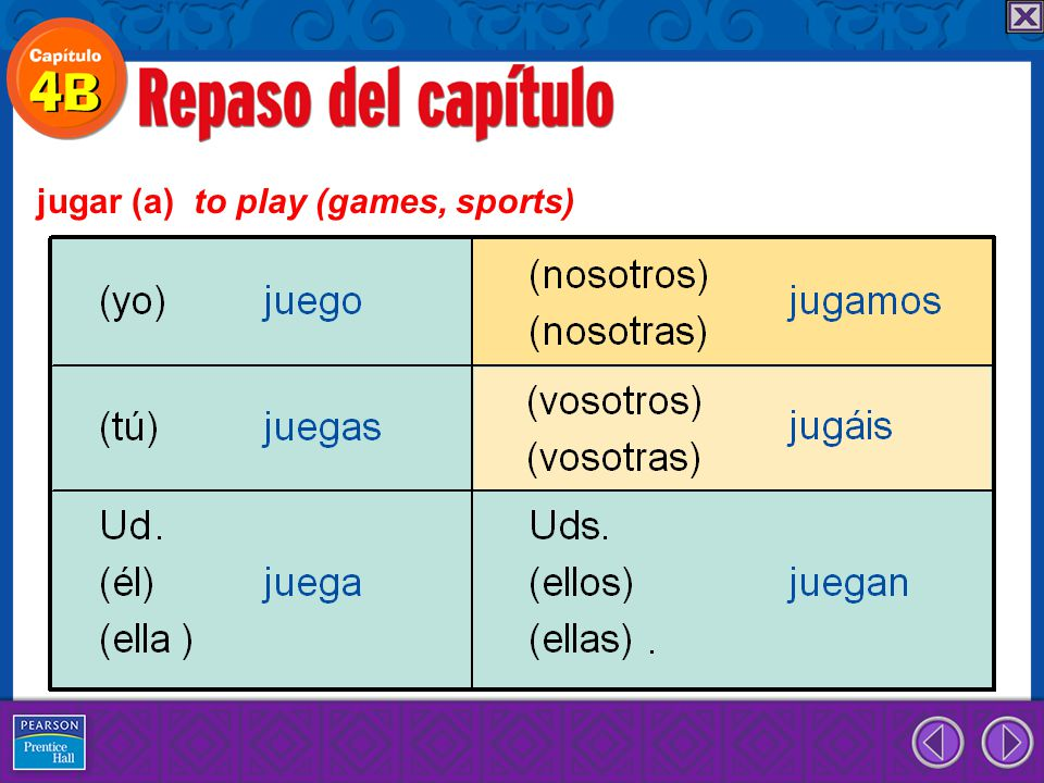 jugar (a) to play (games, sports)