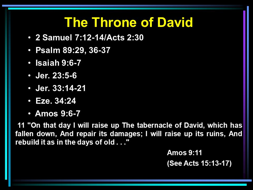 The Throne of David 2 Samuel 7:12-14/Acts 2:30 Psalm 89:29, Isaiah 9:6-7 Jer.