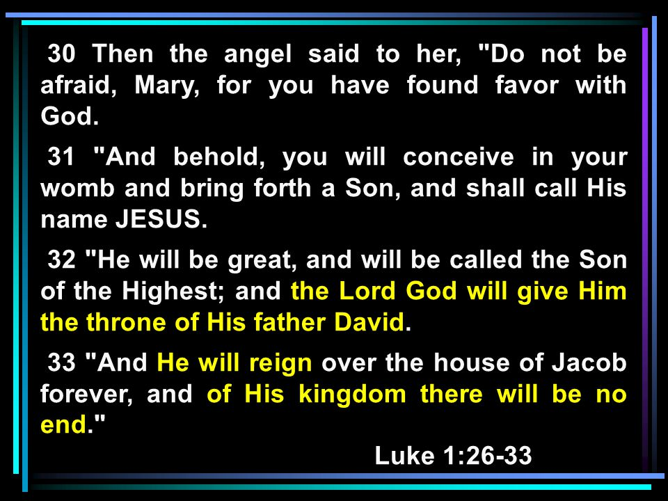 30 Then the angel said to her, Do not be afraid, Mary, for you have found favor with God.