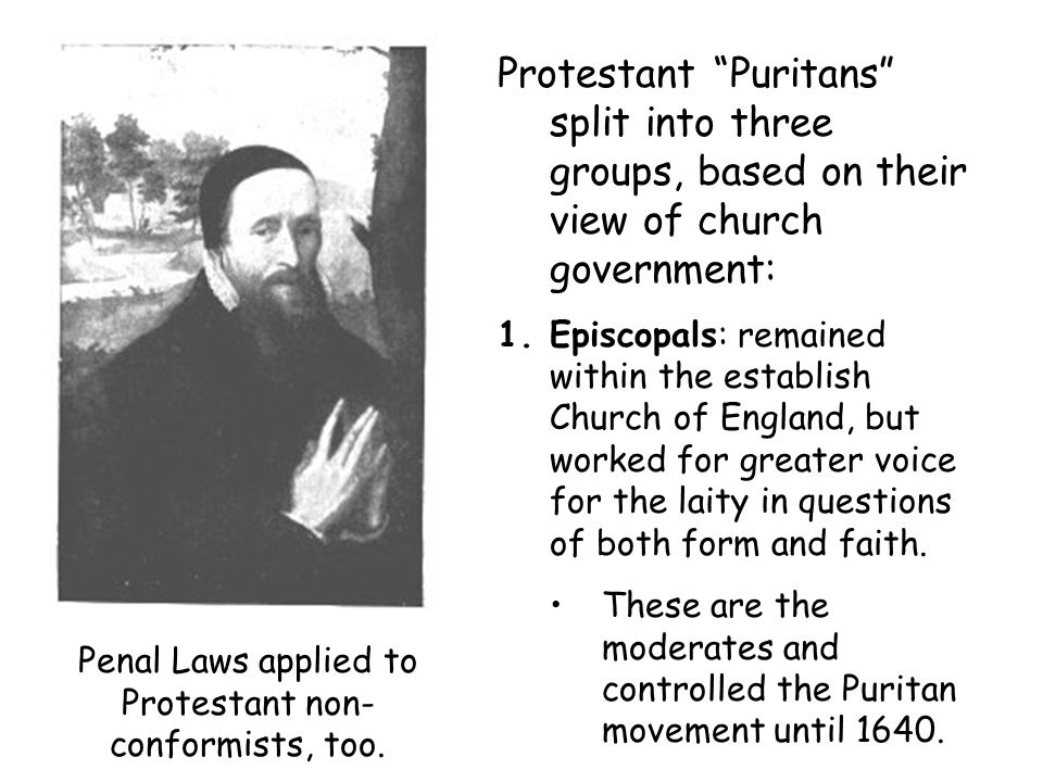 Protestant Puritans split into three groups, based on their view of church government: 1.Episcopals: remained within the establish Church of England, but worked for greater voice for the laity in questions of both form and faith.