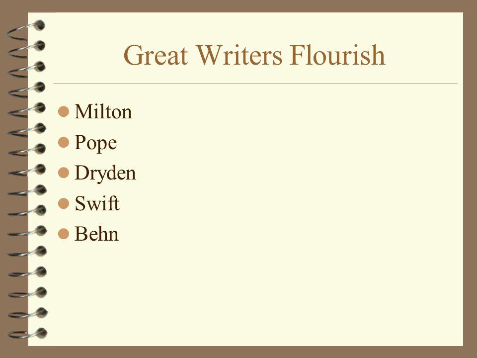 Great Writers Flourish Milton Pope Dryden Swift Behn